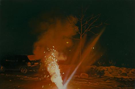 FeuerwerkI  | 2012 | Öl auf MDF | 12,6 x 18,8 cm