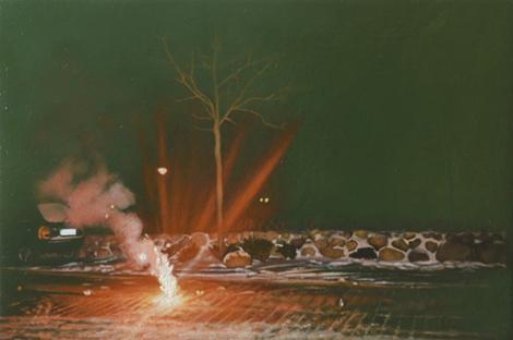 FeuerwerkII  | 2012 | Öl auf MDF | 12,6 x 18,8 cm